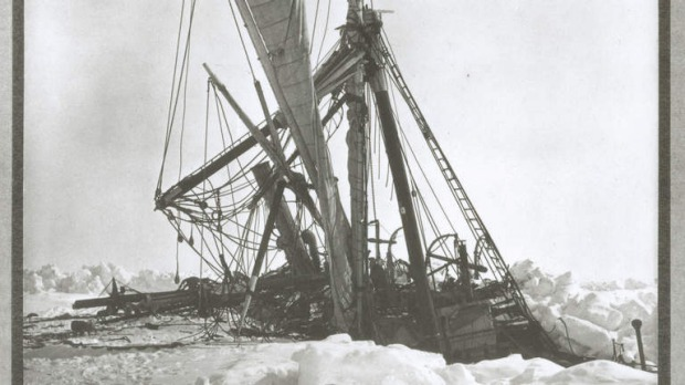 The Endurance is stuck in ice,  October 27th, 1915. Photo by Frank Hurley
