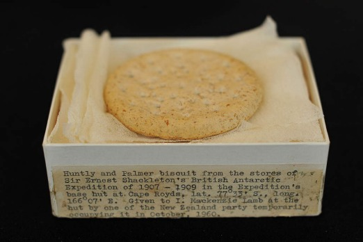 A Huntley and Palmers biscuit from Ernest Shackleton's unsuccessful Nimrod expedition to the South Pole,1907-1909, is ...