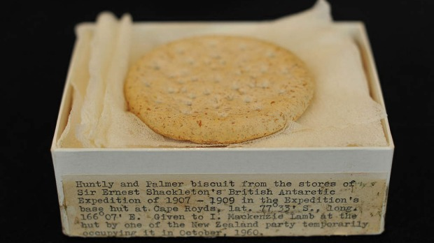 A Huntley and Palmers biscuit from Ernest Shackleton's unsuccessful Nimrod expedition to the South Pole,1907-1909, is pictured at Christie's auction house in London, on September 28, 2011. Photo by AP