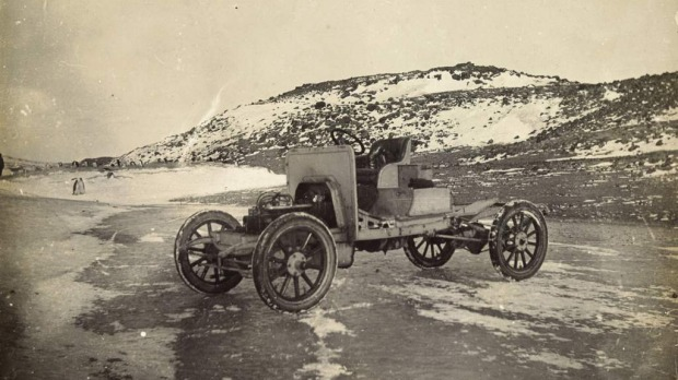 Motor car used in Shackleton's Antarctic expedition. Photo held by the National Library of Australia
