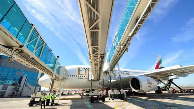 Emirates has begun operations from a $2.8 billion new concourse dedicated to Airbus' A380 superjumbos in Dubai.