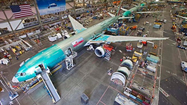 A Boeing 777 under construction.