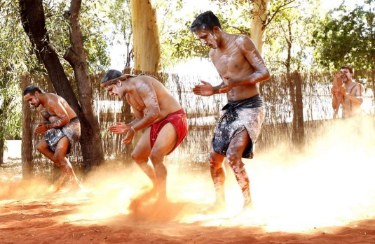 World Heritage listed Uluru in Australia's Northern Territory.  Wakagetti Dance Troupe as part of the free daily ...