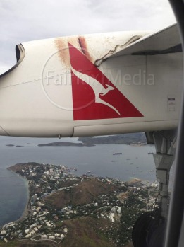 A snake as seen on the wing of a Qantas plane during a flight from Cairns to Port Moresby.
