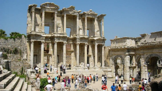 Surreal setting ... the ruins of Ephesus in Turkey.