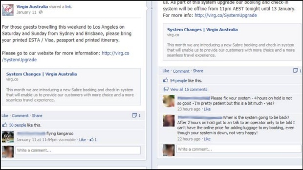 A screen grab from the Virgin Australia Facebook page