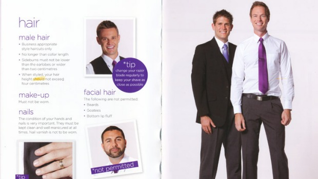 Style Bible ... a page from Virgin's <i>The Look Book</i>, which dictates hair length, general grooming and dress code.