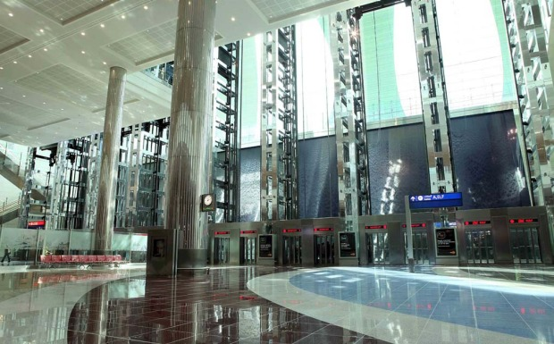 The 'skylifts' at the new Dubai Airport terminal 3