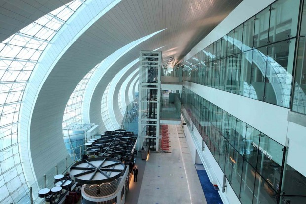 Concourse A at the new Dubai Airport terminal 3 designed specifically for A380 superjumbo jets.