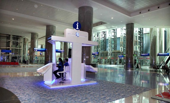 The information desk at the new Dubai Airport terminal designed specifically for A380 superjumbo jets.