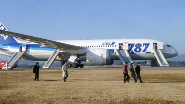 Passengers walk away from All Nippon Airways' (ANA)  Dreamliner plane that made an emergency landing at Takamatsu airport, western Japan in January.