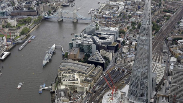 A view of London from the air showing the newly built and opened Shard tower, right, in central London.