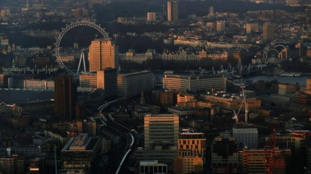 The early morning sun lights buildings in an aerial photograph from The View gallery at the Shard, western Europe's tallest building.
