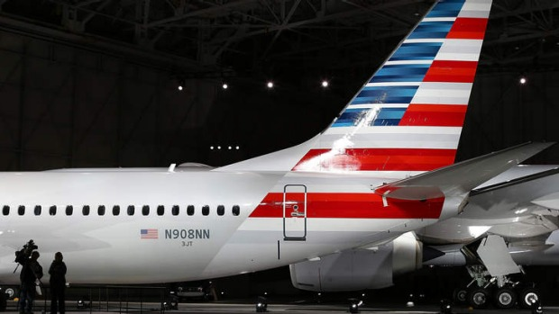 American Airlines unveils its new company logo and exterior paint scheme on a Boeing 737 in Dallas, Texas, last month.
