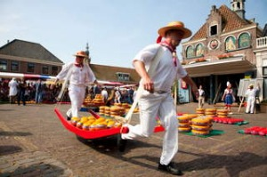 Traditional ... men lay out wheels of cheese for the weekly market in Edam.