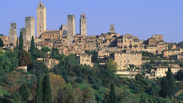 Italian idyll ... views of San Gimignano from an agriturismo in Tuscany.