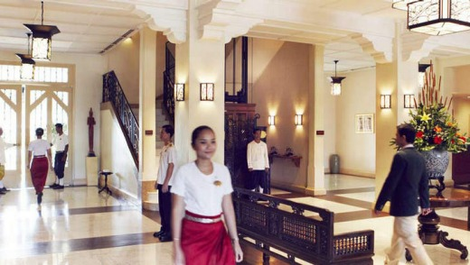 Opulent ... the foyer at the Raffles hotel in Siem Reap.