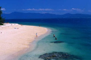 SHD TRAVEL FEBRUARY 3 PALM COVE. Fitzroy island, Qld. Swimmers and snorkellors on Nudey Beach. CREDIT GETTY IMAGES