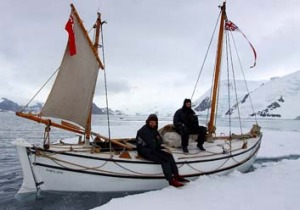 Calm before the storm ... Nick Bubb, left, and Ed Wardle on the Alexandra Shackleton in Admirality Bay.
