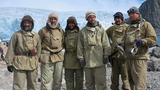 Rugged up ... the crew on Elephant Island in their gaberdine coats before their departure for South Georgia.