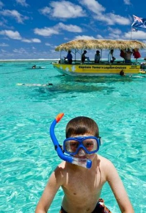 Play time ... snorkelling in the Cook Islands.