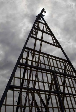 Reaching heavenwards … the A-frame scaffolding as the interim cathedral takes shape.
