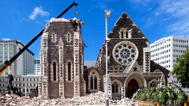 Rising from the rubble .... the broken cathedral after the earthquake.
