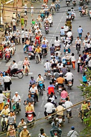 Chaotic ... Ho Chi Minh City's busy streets.
