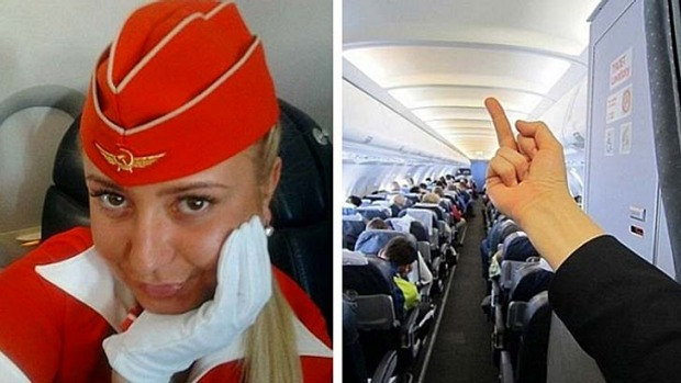 Air hostess Tatiana Kozlenko and the offending image that caused her to be fired and then rehired by Russian airline ...