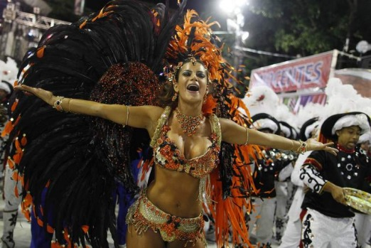 Drum Queen Lucilene Caetano of the Inocentes de Belford Roxo samba school dances on the first night of the annual ...