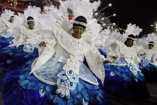 Revellers participate on the first night of the annual carnival parade in Rio de Janeiro's Sambadrome.