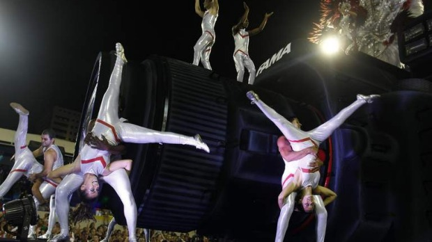 Revellers of the Salgueiro samba school participate on the first night of the annual carnival parade in Rio.