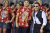 "South Korean singer Psy (R) smiles at the Sambadrome. The creator of the song ""Gangnam style"" is in Rio on a two-day visit to enjoy carnival."