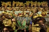 Performers from the Unidos da Tijuca samba school parade during carnival celebrations at the Sambadrome in Rio de Janeiro.