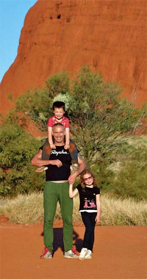 Big heart ... Anthony Field loves to share the spirit of Uluru with his kids.