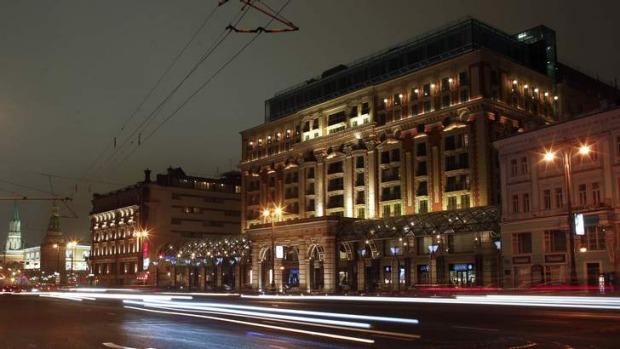 The Ritz-Carlton hotel in Moscow, where rooms can go for almost $17,000 per night for a luxury suite.