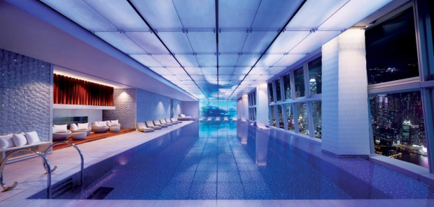 On the 118th floor of the Ritz-Carlton, Hong Kong, the hotel pool is the world's highest.