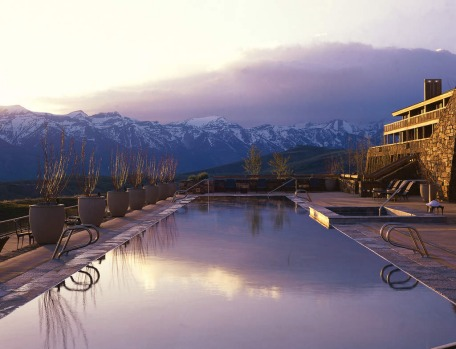Amangani at  the Wyoming ski resort  Jackson Hole in the  US has a cliff-side pool that manages a blend of Asian ...