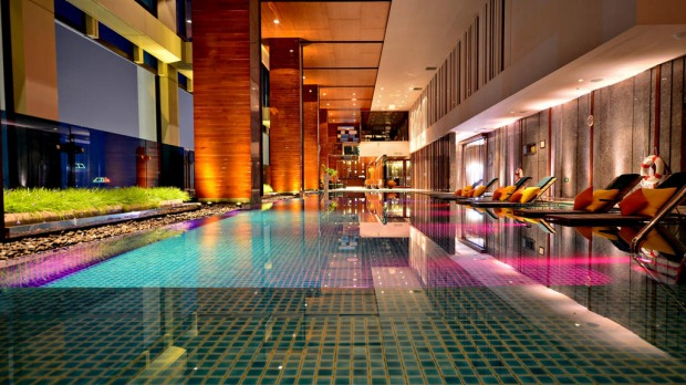 The pool at the Renaissance Bangkok Ratchaprasong Hotel, Thailand, has lounges in the shallows.