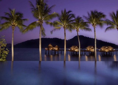 The infinity pool overlooks  granite boulders at the Pangkor Laut Resort on the private island in Malaysia.