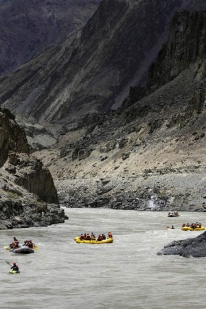 Rafting on the Indus River towards Thikse Monastery.