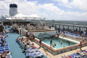 The pool on Lido deck on the way to New Caledonia onboard Pacific Dawn cruise ship, January 2008. Photograph by Ruth ...