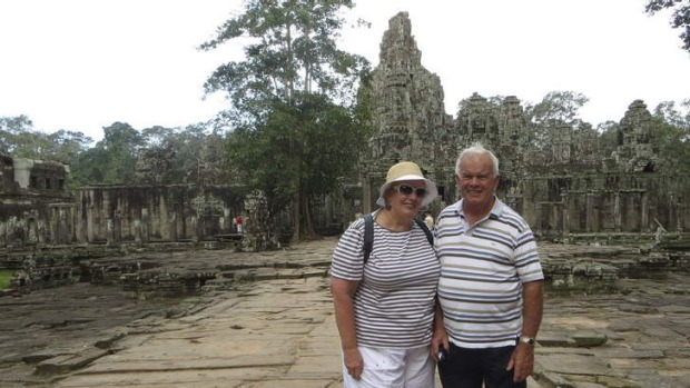 "Inspiring ... Gwen Jones with her husband, Tom, at Bayon Temple, Angkor Wat. ""The Angkor Wat complex is abosolutely huge ..."
