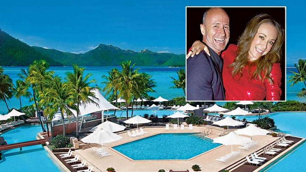 Hayman Island and (inset) Michelle Bridges with husband Billy.
