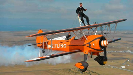 Journalist Nino Bucci takes a ride flying on Breitling wingwalkers at the Australian Airshow.