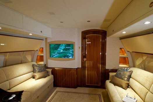 Owners of the Airbus ACJ319 can give the interior a custom fit out to meet their needs, with leather seats and couches, ...
