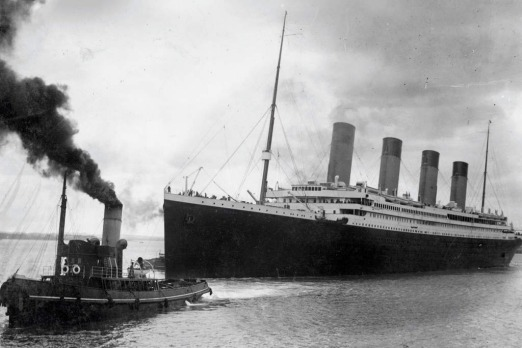 A handout picture recieved from Southampton City shows the Titanic leaving Southampton on April 10, 1912.