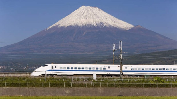 "Thrilling ... a bullet train passes Mount Fuji, ""that perfect volcano""."
