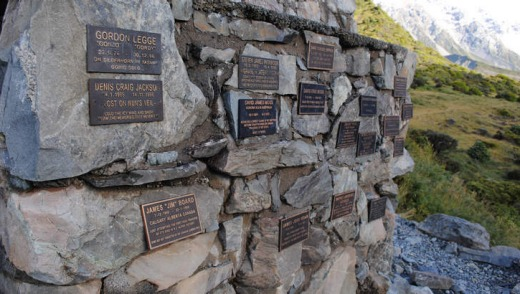 The memorial to climbers who have died on Mount Cook.