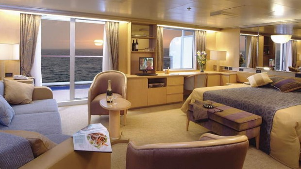 All mod-cons ... a cabin suite on P&O's Arcadia, which does world, Mediterranean and Baltic cruises.
